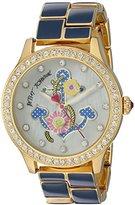 Betsey Johnson Women's Quartz Metal and Alloy Automatic Watch, Color:Blue (Model: BJ00198-07)