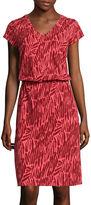 Liz Claiborne Short-Sleeve Ruched V-Neck Dress - Tall