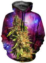 Ensnovo Unisex 3D Digital Print Galaxy Pocket Pullover Hooded Sweatshirt galaxyred M
