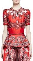 Alexander McQueen Short-Sleeve Paisley-Print Silk Peplum Top, Red/Brown