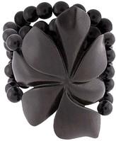 Josie Natori Acacia wood floral bracelet
