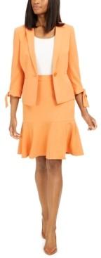 Le Suit Petite Ruffle-Trim Skirt Suit