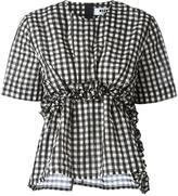 MSGM checked ruffle detail top