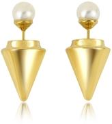Vita Fede Gold Plated Double Titan Pearl Earrings w/Akoya Pearls