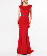 Terani Couture Red Embellished Cutout-Back Mermaid Gown