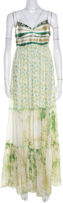 Roberto Cavalli Class by Green and White Printed Ruffled Detail Sleeveless Maxi Dress M