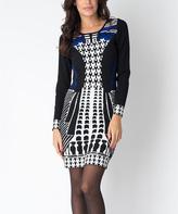 Yuka Paris Black & Royal Geometric Gia Dress