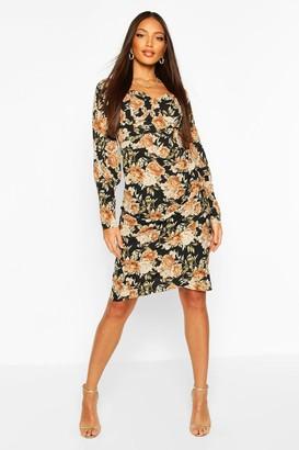 boohoo Floral Print Square Neck Puff Sleeve Midi Dress