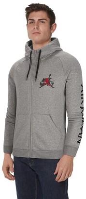 Jordan Jumpman Classic Full-Zip Hoodie Sweatshirt - Carbon Heather / Gym Red / Black