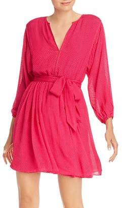 Joie Favia Flocked Belted Dress