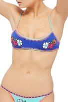 Topshop Embroidered Crochet Bikini Top