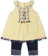 Little Lass Yellow Swing Top & Denim Capri Pants - Infant & Girls