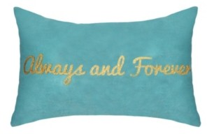 "Ediehome Celebrations Pillow Metallic Gold Foil Printed ""Always and Forever"""
