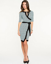Le Château Brushstroke Print Knit Faux-Wrap Dress