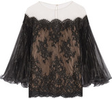 Marchesa Off-the-shoulder Corded Lace Top - Black