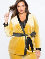 ELOQUII Velvet Wrap Jacket With Satin Trim