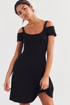 Silence & Noise Silence + Noise Cold-Shoulder Ribbed Knit Dress
