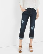 White House Black Market Distressed Straight Crop Jeans