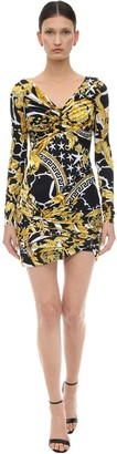 Versace PRINTED STRETCH JERSEY MINI DRESS
