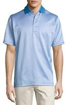 Peter Millar Chuck Checkered Cotton Lisle Polo Shirt, Blue