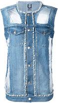 Aviu denim pearl-embellished vest - women - Cotton/Polyester/Spandex/Elastane - S