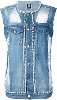 Aviu denim pearl-embellished vest