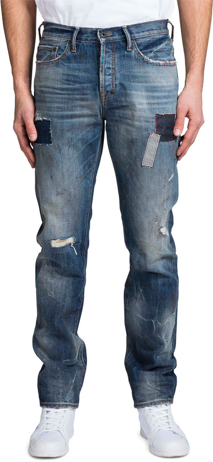 PRPS Men's Repaired Demon-Patched Relaxed Jeans