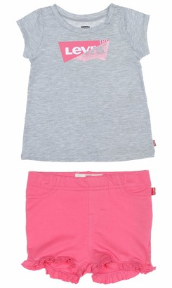 Levi's Kids Lvg Graphic Tee Knit Short Set Shorts Set Baby Girls Gray Heather 24 Months