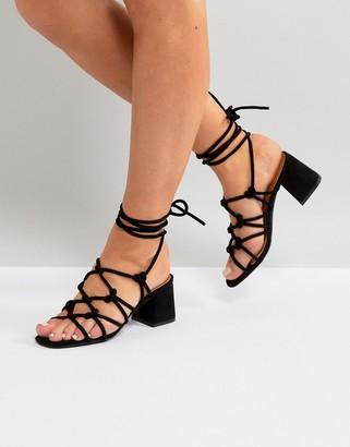 Public Desire Freya Black Mid Heeled Sandals