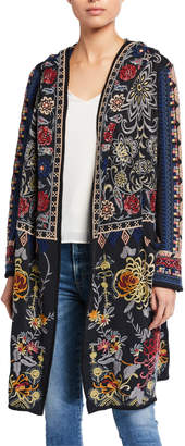 Johnny Was Coreine Embroidered Hooded Duster Coat