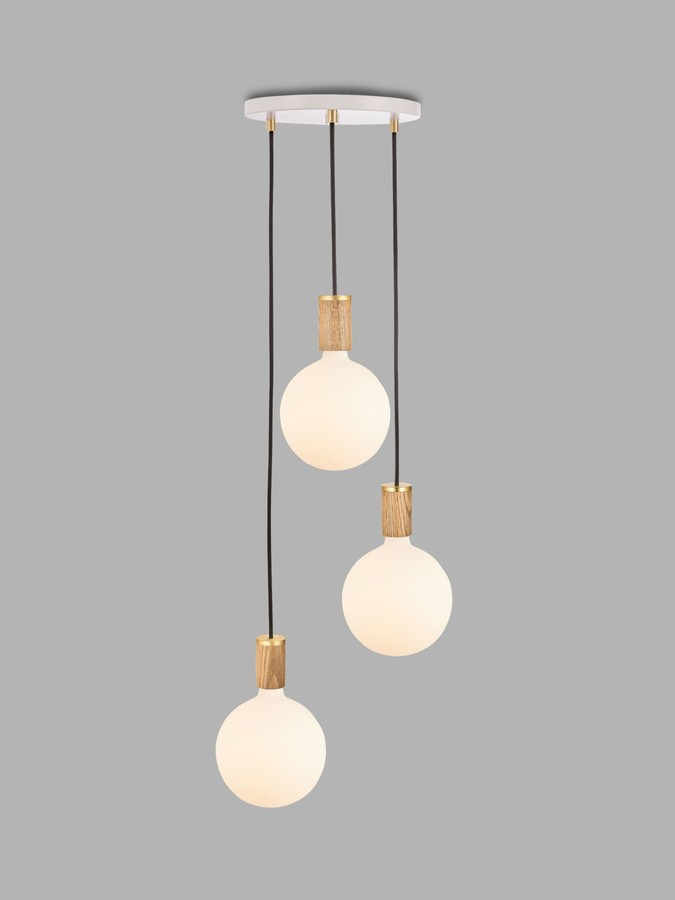 Tala Oak Triple Pendant Cluster Ceiling Light with Sphere IV ES LED Dim to Warm Globe Bulbs