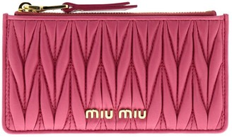 Miu Miu Wallet Credit Card Holder In Genuine Soft Matelassé Leather With Logo And Zip