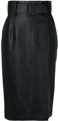 Sara Battaglia wet-look pencil skirt