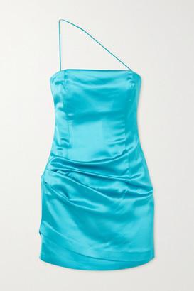 GAUGE81 Pasto One-shoulder Neon Satin Mini Dress - Turquoise