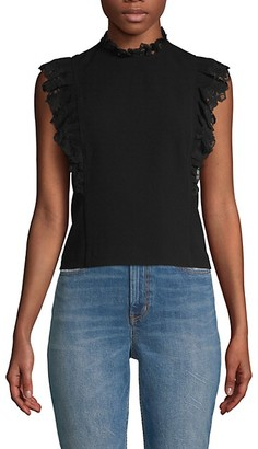 Rebecca Taylor Embroidered Lace-Trimmed Top