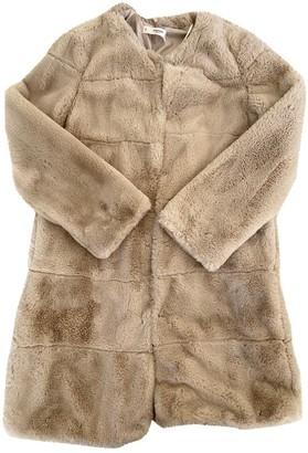 MANGO Beige Faux fur Coat for Women