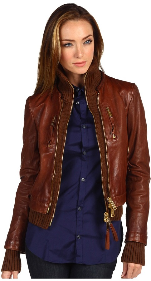 DSquared DSQUARED2 - Kinky Knit Leather Jacket (Mud) - Apparel