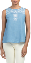 Juniors Embroidered Chambray Woven Top