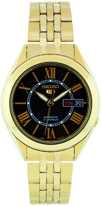 Seiko Men's SNKL40 Gold Plated Stainless Steel Analog with Black Dial Watch