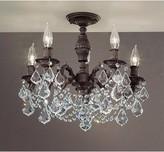 "Fairhill 5 - Light 18"" Chandelier Style Geometric Semi Flush Mount Astoria Grand Finish: Aged Bronze, Crystal Type: Crystalique Black"