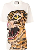 Gucci feline print oversized T-shirt