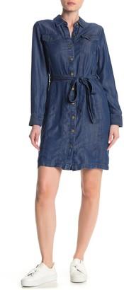 Modern American Designer Button Front Shirt Dress