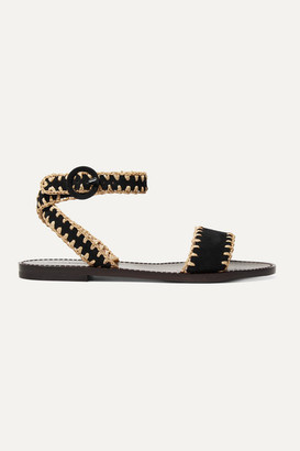 Tabitha Simmons Judy Whipstitched Raffia And Suede Sandals - Black