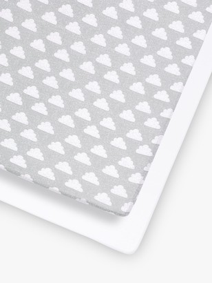 Snüz Snuz Baby Cloud Cot/Cotbed Fitted Sheets, 2 Piece Set, Grey/White