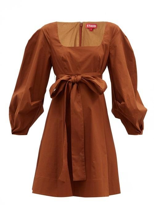 STAUD Isabella Square-neck Cotton-blend Mini Dress - Light Brown