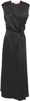 Cédric Charlier Knotted Zip-detailed Satin-crepe Midi Dress
