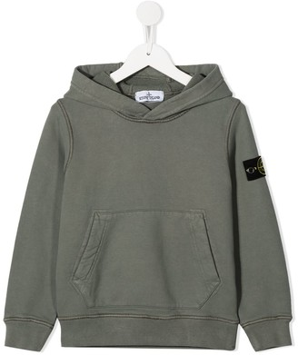 Stone Island Junior Logo Patch Cotton Hoodie
