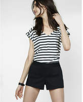 Express striped rolled sleeve blouse