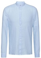 HUGO Extra-slim-fit linen shirt with stand collar