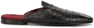 Dolce & Gabbana Crocodile Effect Slippers